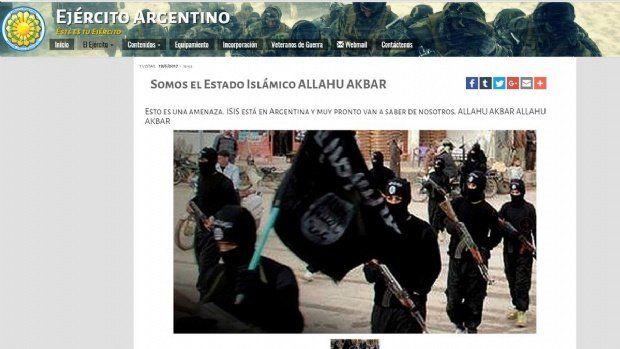 Hackearon la página del Ejército Nacional: ISIS está en Argentina