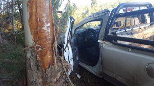 Despistó y chocó contra un árbol en la ruta 2