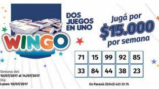 Wingo: Controlá los números del lunes 10 de julio