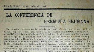 Testimonio. Recorte de El Diario que da cuenta de una conferencia de la artista el 14 de julio de 1932 .