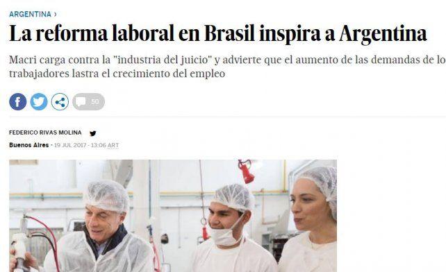 En España afirman que la reforma laboral en Brasil inspira al Gobierno argentino