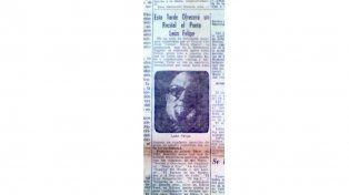 Desteñido. Recorte de El Diario de Paraná que en su edición del jueves 6 de noviembre de 1947 anunciaba la presencia del poeta.