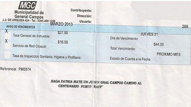 Polémica. La factura llegó a un domicilio en General Campos.