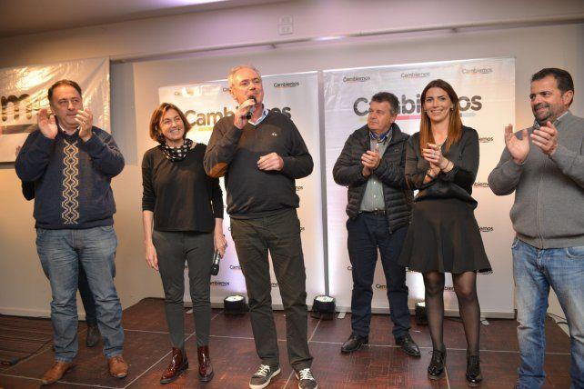 Los candidatos de Cambiemos celebraron con un discurso medido. Foto UNO Juan Manuel Hernéndez.