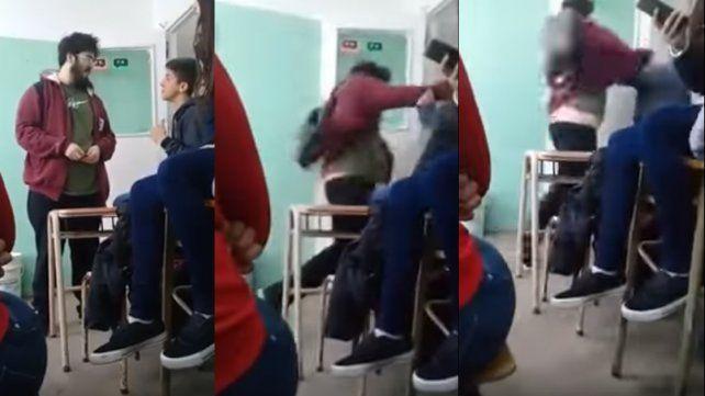 Militante le da una piña a un menor en la escuela tras discusión: quedó registrada en video