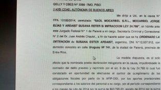 El oficio. Desde la Justicia Federal de Paraná se emitió la orden de detención.