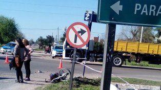 Ingreso peligroso. En la salida de Nogoyá se produjo el fatal accidente.