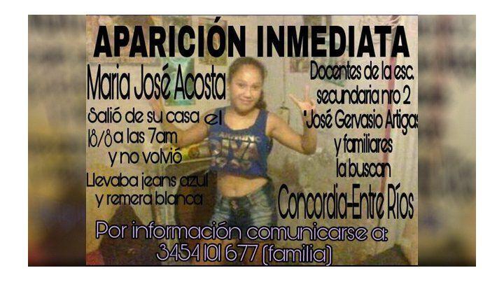 En Concordia buscan a María José que tiene 13 años y faltó a la escuela