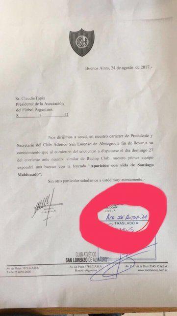 San Lorenzo pidió salir con una bandera en reclamo por la aparición de Maldonado ¿Qué respondió AFA?