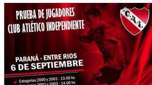 Independiente llega a Paraná en busca de jóvenes promesas
