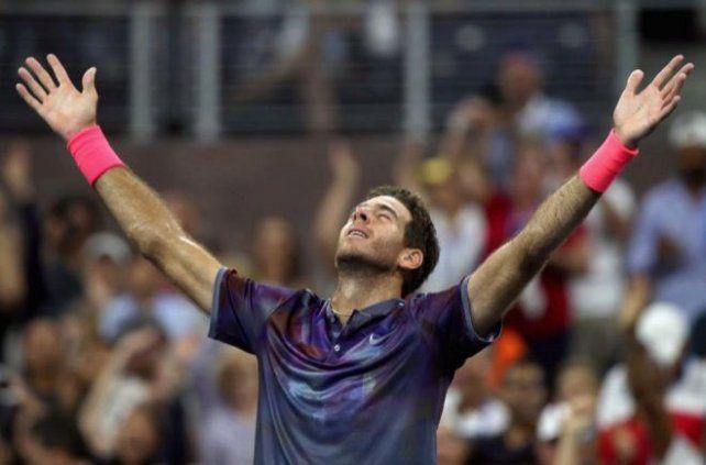 El gesto de Juan Martín Del Potro después de ganarle a Federer.