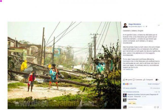 El mensaje de Diego Maradona a las víctimas del huracán Irma y el terremoto en México