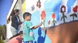 Un mural en defensa del espacio público de Bajada Grande
