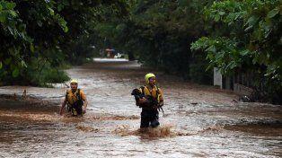 Rescatistas salvan a un perro luego del paso de la tormenta. Foto La Nación / Costa Rica.