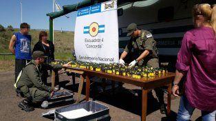 Los gendarmes armaron un puesto para mostrar el secuestro. Foto Gendarmería Nacional.