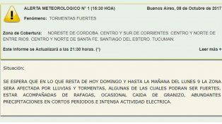 Anuncian tormentas fuertes para el centro y norte de Entre Ríos
