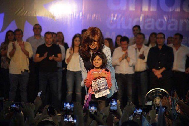 La expresidenta en el acto que se realizó en la provincia de Buenos Aires.