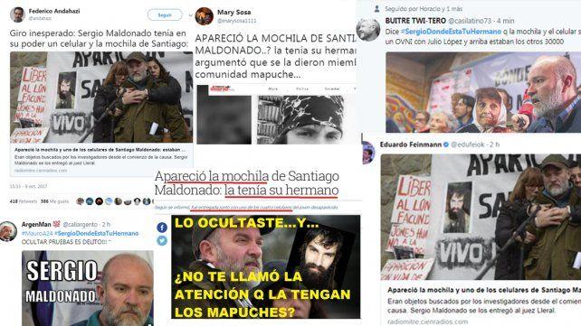 La familia de Maldonado aclara que la mochila y el celular no eran los que usaba Santiago cuando desapareció