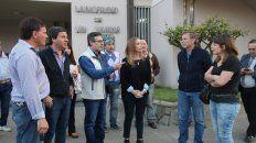Campaña. Zavallo, Cresto, Bahillo y Gaillard junto al senador Arralde (de chaleco) en San Salvador.