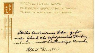 La teoría de la felicidad de Einstein aparece en una nota manuscrita en Tokio