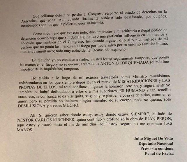 De Vido lejos de Cristina destacó su compromiso con Néstor Kirchner