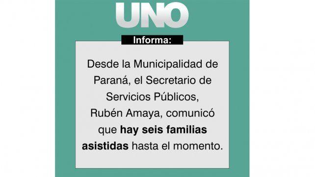Hasta las 12 habían caído 55,2 milímetros en Paraná y hubo familias damnificadas