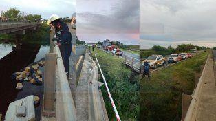 Rescataron el cuerpo del camionero que cayó con su camión a un arroyo