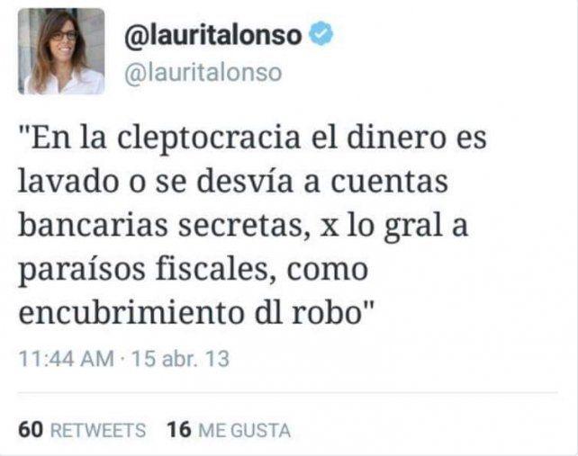 Para Laura Alonso, la ley no prohibe participar en empresas offshore