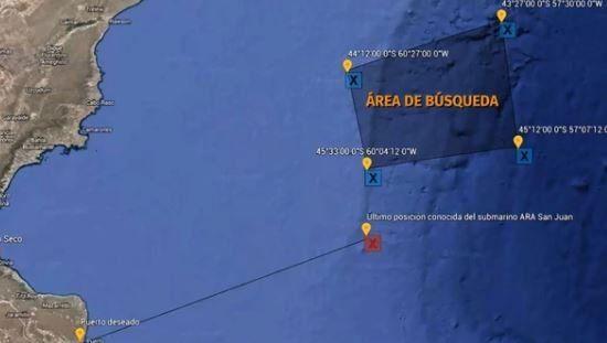 El color del submarino y el estado del mar hacen muy difícil la búsqueda