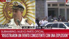 parte de la armada:se registro una explosion en el area de busqueda del submarino ara san juan