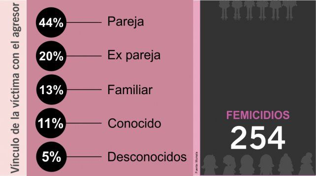 Hubo 254 femicidios en casi once meses, según un relevamiento