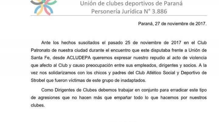Dirigentes deportivos visitarán a los niños agredidos de Deportivo Strobel