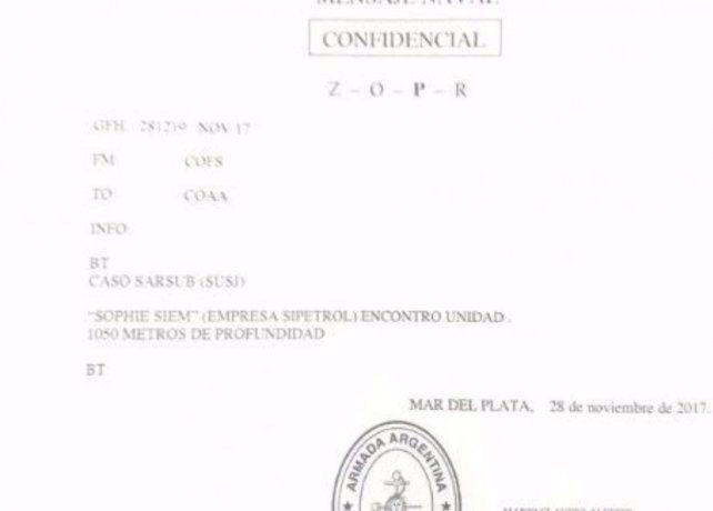 El supuesto despacho del hallazgo del ARA San Juan que se hizo viral