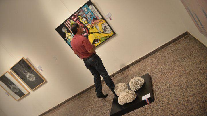 Un visitante del Museo de Bellas Artes observa la obra de Javier Solari. Foto UNO Juan Manuel Hernández.