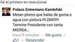Funcionario de Victoria le pidió al presidente Macri que metan plomo