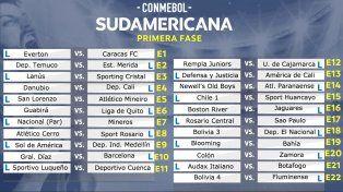 Confirmados los cruces de la primera fase de la Sudamericana