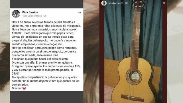 Rifa su guitarra para ayudar a sus padres: el primer día del año les robaron todo