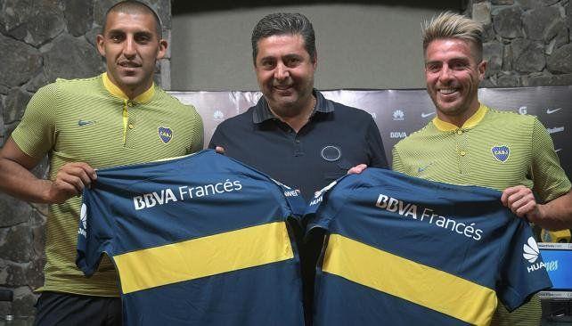 Boca presentó a Wanchope Ábila y Julio Buffarini