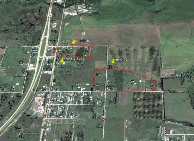 Contaminación. En la imagen satelital aparece la zona donde se realizan las aspersiones con mosquito.