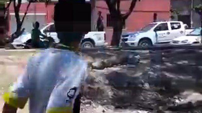 Persecución. El agresor escapó al ver los móviles policiales y luego se produjeron los cortes.