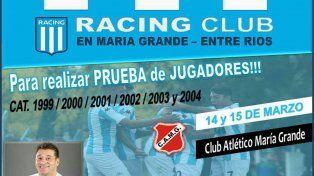 Después de una venta millonaria, Racing viene a buscar jugadores a Paraná Campaña