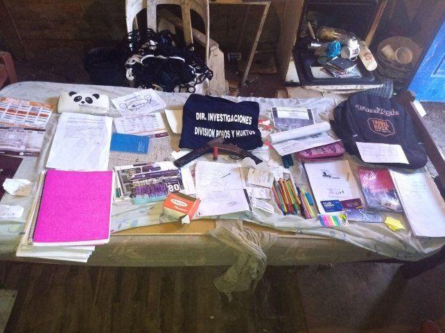 La foto de los elementos robados que envió la policía.