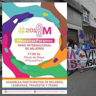 8M: Convocan a vecinales, sindicatos y entidades a organizar el Paro de Nacional de Mujeres