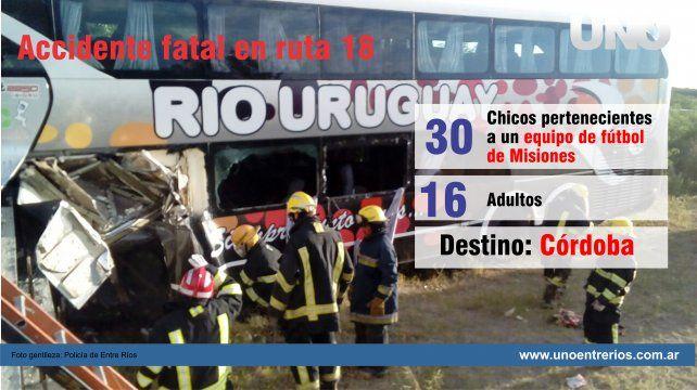 Chocó un colectivo que trasladaba niños a un campeonato de fútbol: tres muertos