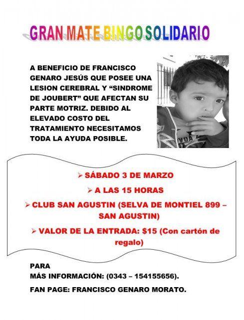 Realizan un Mate Bingo solidario para ayudar a Francisco Genaro