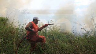 Pastos y humo. FotoUNOJuan Ignacio Pereira.