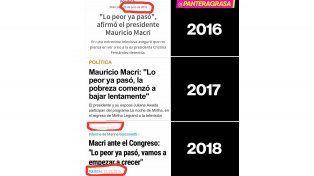 Lo peor ya pasó, un eslogan repetido de Macri