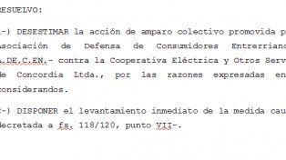 El fallo de la vocal Estela Beatriz Méndez Castells rechazando el amparo presentado en Concordia. El fallo del STJ fijará precedente para próximas presentaciones.