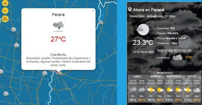 Anunciaron tormentas fuertes para gran parte de Entre Ríos