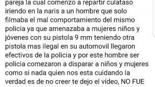 Video: en Paraná investigan el accionar de un policía que amenazó con su arma a mujeres y niños